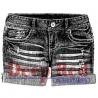 Deep Red - Cling stamp - denim shorts