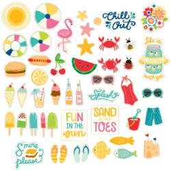 Pebbles - Printed Chipboard Shapes - Fun in the Sun