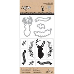 Art-C - Stamp and cut - Deer, Twig, Banner