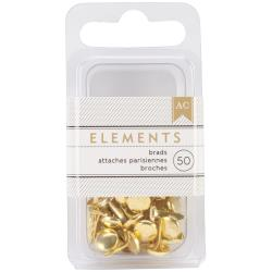 American Crafts - Elements - Brads - Gold