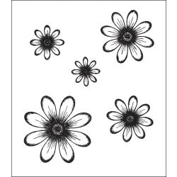 Heartfelt Creations - Cling Stamp - Daisy patch flowers precut set