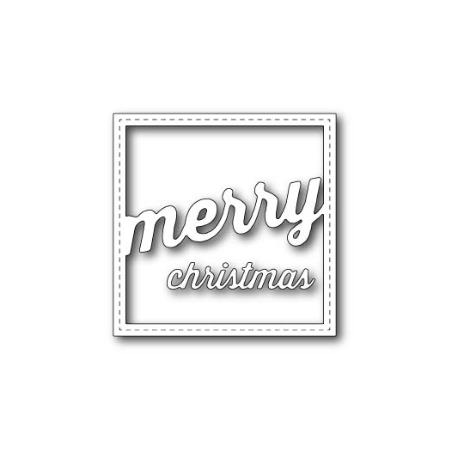 Memory Box - Dies - Stitched merry christmas square frame