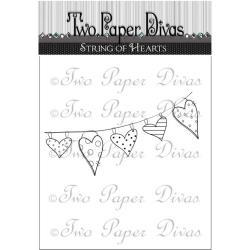 Two Paper Divas - Clear Stamps - String of Hearts