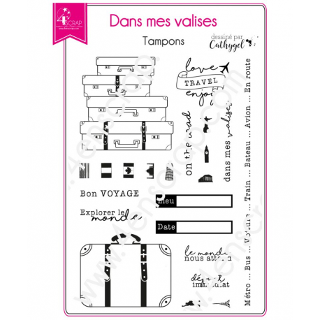 4enSCRAP - Tampons clear - Set no 132 - Dans mes valises