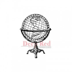 Deep Red - Cling stamp - Antique Globe