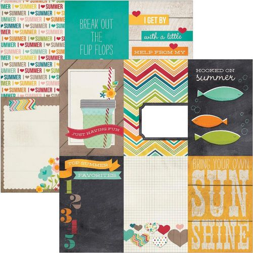 Simple Stories - I heart summer - 4X6 Vertical Journaling Card Elements