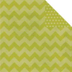 Simple Stories - Papier � motifs - Daily Grind - Green Chunky Chevron/dots