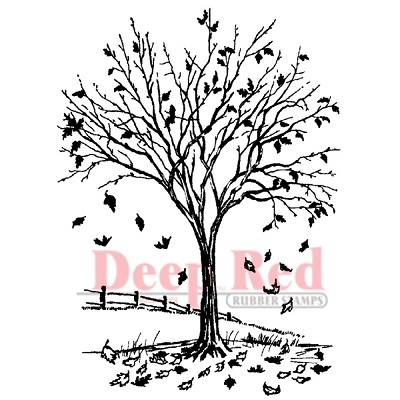 Deep Red - Cling Stamp - Fall Leaves
