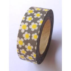 Washi Tape Love my tapes - Fleurs Jaunes sur fond gris